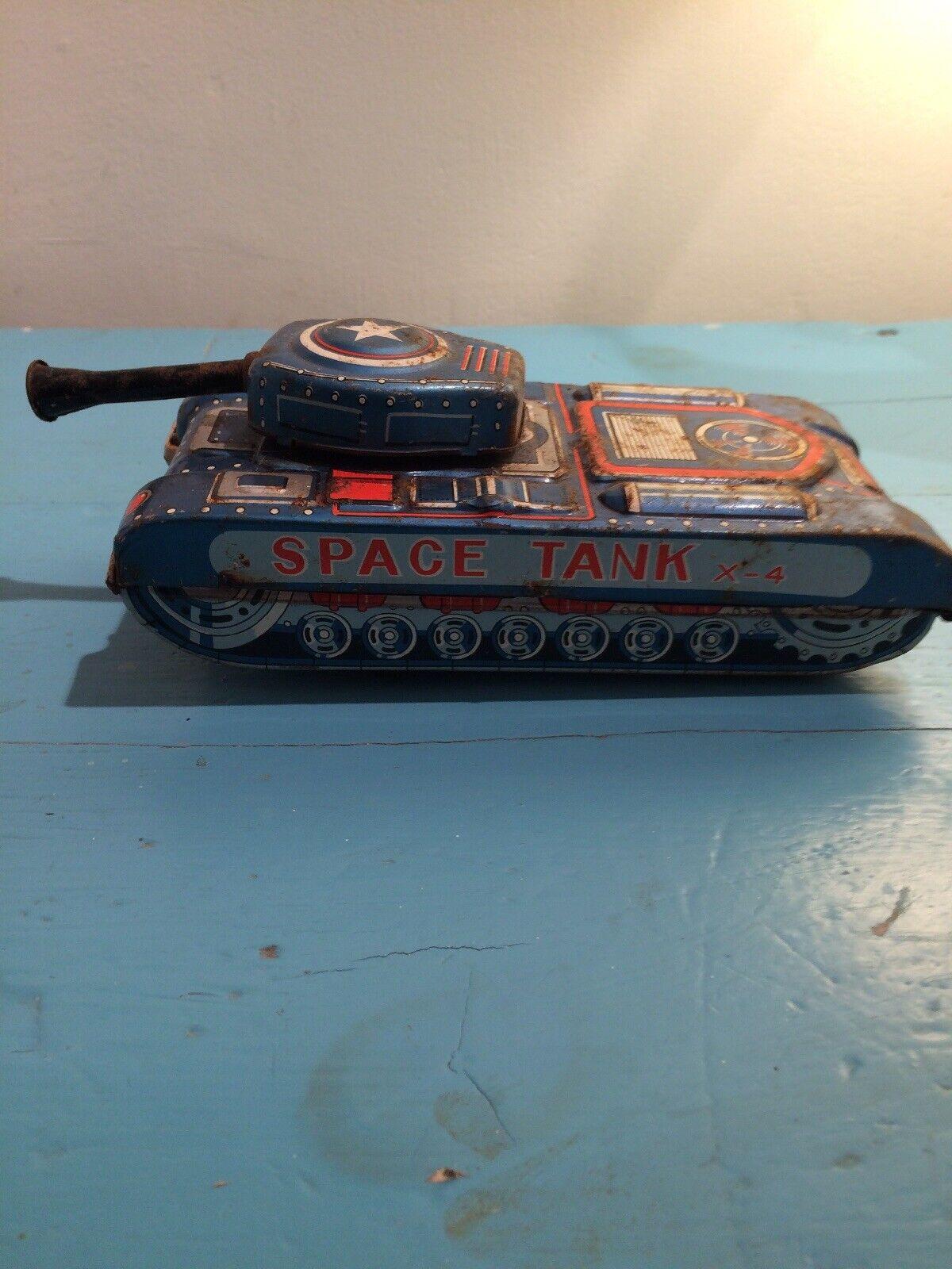Nomura Tn Hojalata espacio Tanque X-4 Estaño Juguete Muy Rara Vintage Japón Antiguo
