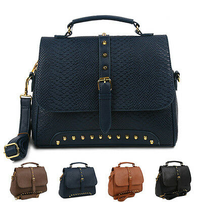 New Women Handbag Ladies Shoulder Tote Cross Body Bag Studded Stud Satchel Purse