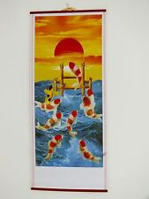 CHINESE CANE BAMBOO WALL HANGING SCROLL KOI CARP FISH PICTURE BIRTHDAY PARTY R5