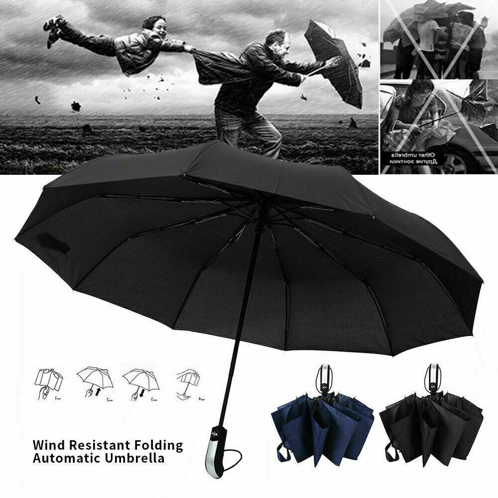 10 Rib Strong Automatic Open Umbrella Close Travel Windproof Compact Folding