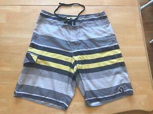 de7709ee1a883 EZEKIEL Surf Company Men's Board Shorts Swim Trunks 30 Gray Yellow ...