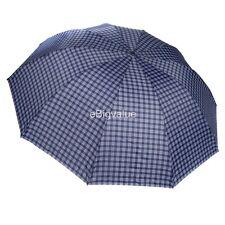 Blue Plaid Men's Travel WindProof Compact portable Folding Sun UV Rain Umbrella