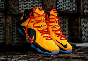 buy popular 07cac 7418f Details about Nike Lebron XII 12 BRUCE LEE Witness CAVS Gold Yellow Orange  Red Black KYRIE 9