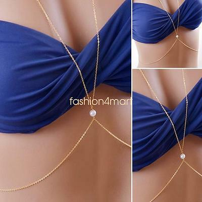 Chic Simple Ladies Gold Plated Single Pearl Body Chain Necklace Bikini Accessory