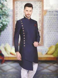 Men S Indian Traditional Wedding Achkan Fashion Designer Sherwani Kurta Pyjama Ebay