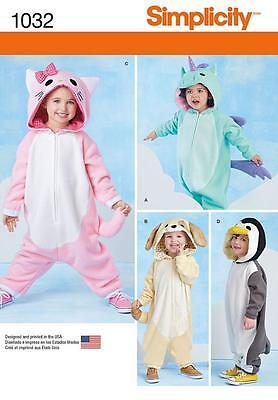 Einfachheit Nähen Muster Kleinkinder Kostüme Pinguin Katze Hund Einhorn 1/2-4
