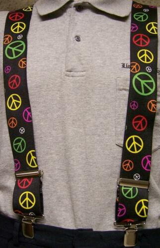 """Suspenders 2/""""x48/"""" FULLY Elastic 60/'s Retro Peace Signs montage NEW"""