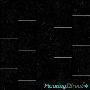 black slate tile effect vinyl flooring kitchen bathroom. Black Bedroom Furniture Sets. Home Design Ideas