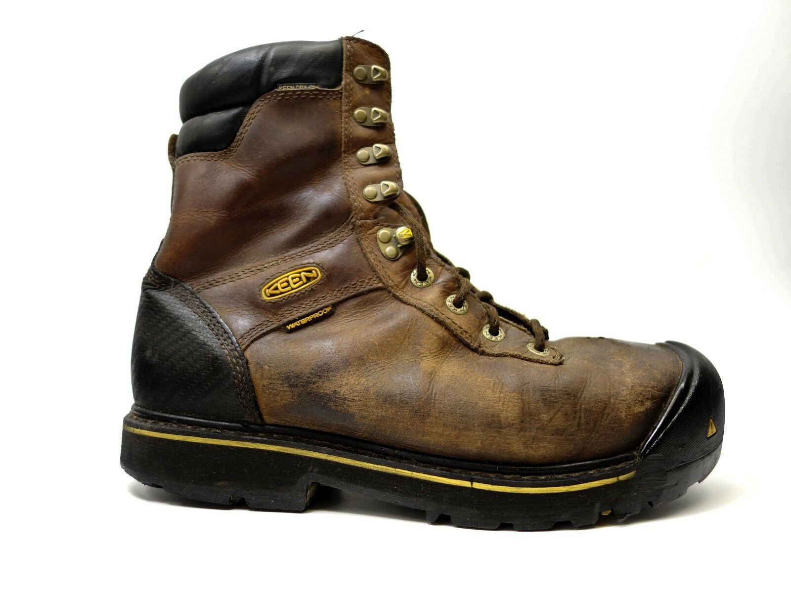 "Keen Uomo Wenatchee 8"" Waterproof Steel Toe Pelle Work Stivali Size 12"