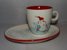 Starbucks 2007 Christmas Holiday Ski Snowflake Penguin Mug Cup & Snack Plate