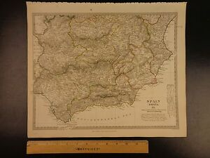 1844 Beautiful Huge Color Map Of South Spain Madrid Tarifa Iberia