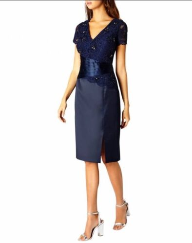 Bellissima Uk costa Dress taglia Jeanie Navy Duchess 10 Satin Bnwt rarqw4EC