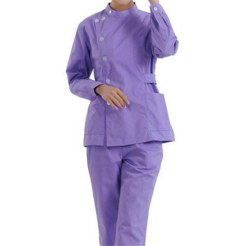Women/'s Medical Nursing Set Uniforms Scrubs Long Sleeves T-shirt Pants RWBN