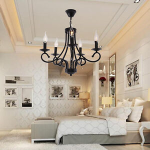 schwarz retro kronleuchter metall pendelleuchte e14 licht lamp deckenleuchte ebay. Black Bedroom Furniture Sets. Home Design Ideas