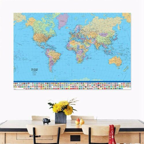 World Map With Country Flags Wall Art Poster Big Large Antique Home Decoration
