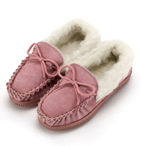 Unisex Child/'s Moccasin Slippers for Boys /& Girls Rubber Sole Fluffy Lambswool
