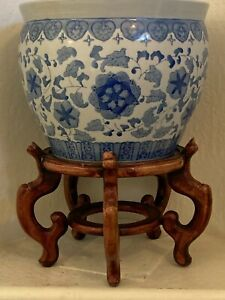 """Vintage Chinese Hand Painted Blue & White Jardiniere Planter 14"""" Dia., MB336"""