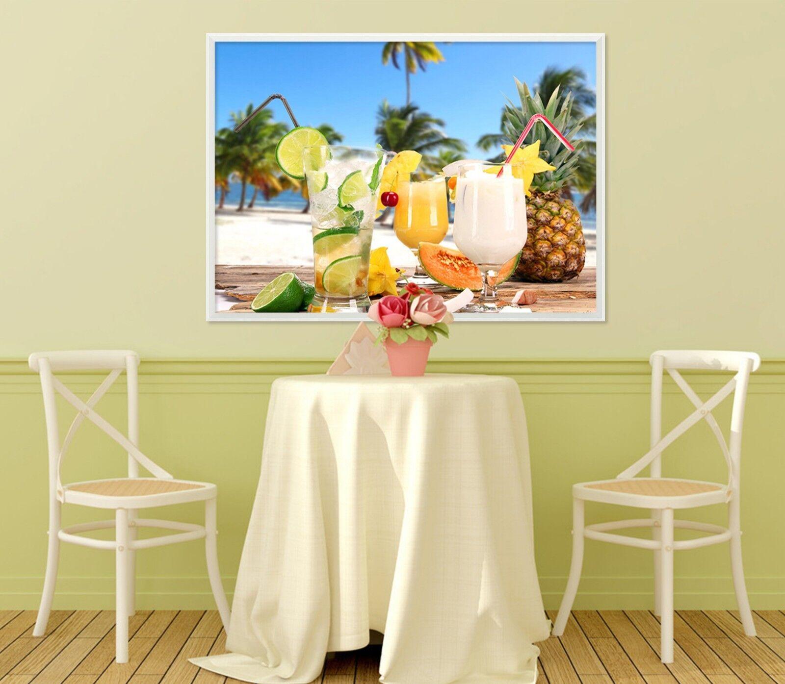 3D Drink Pineapple 523 Framed Poster Home Decor Print Painting Art AJ WALLPAPER