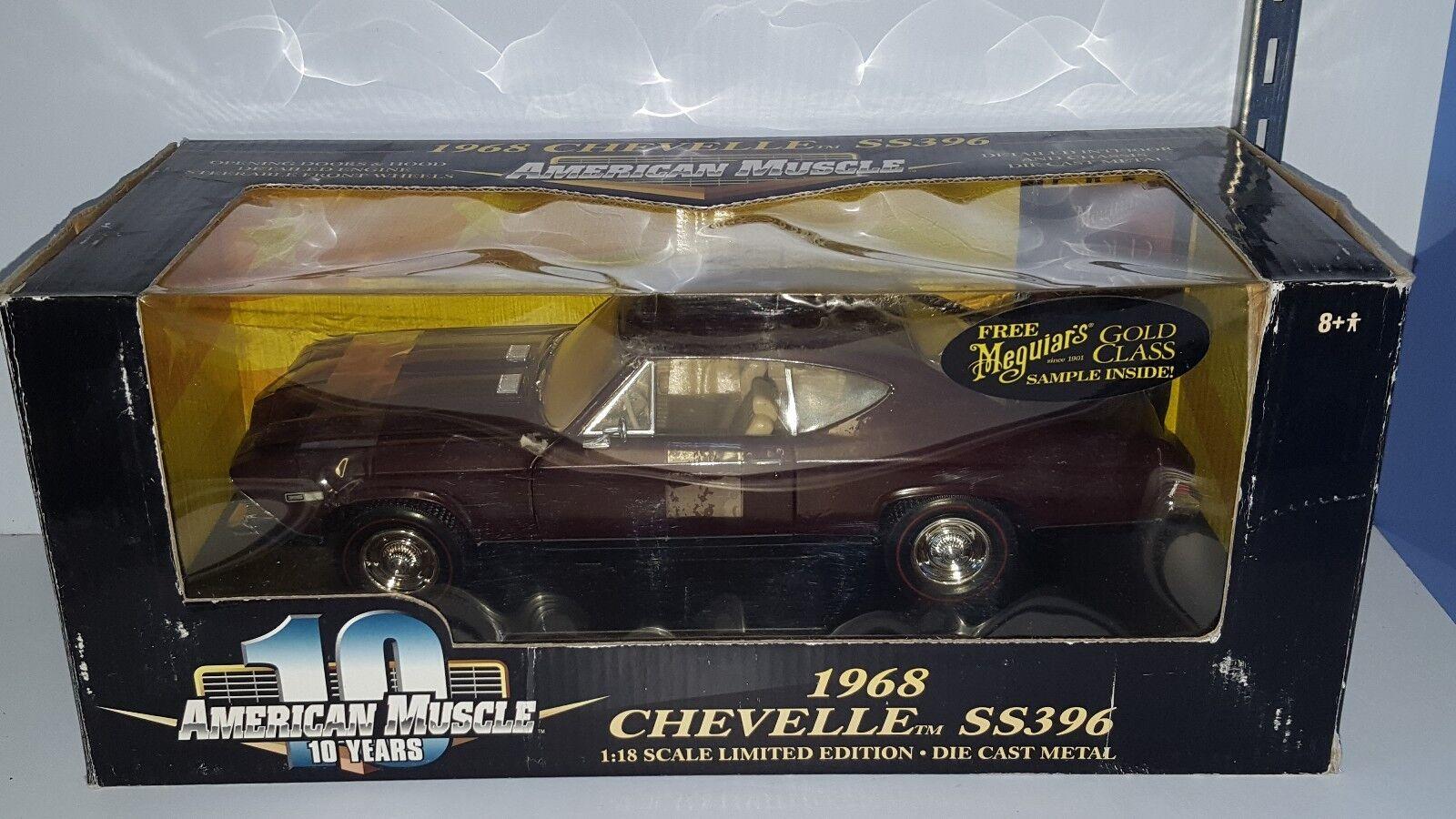 1 18 ERTL 10 ans 1968 CHEVROLET CHEVELLE SS396 Bourgogne GD
