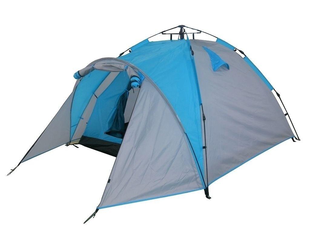 Camping Zelt Blau + Grau Outdoor Zelt S rmsystem Kuppelzelt bis zu 3 Personen