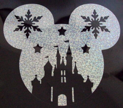 Castillo De Disney De Navidad Holograma//Holográfica Camiseta Hierro en transferencia *