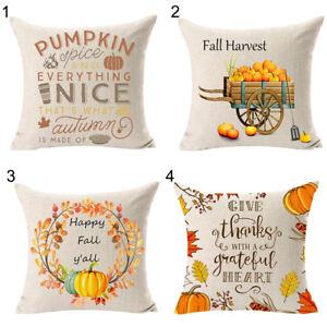 HOT-Pumpkin-Fall-Harvest-Linen-Pillow-Case-Cushion-Cover-Sofa-Bed-Office-Decor-L
