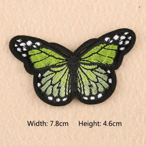 2PCS Embroidered Butterfly Iron On Sewing Patches Bag Clothes Applique DIY Craft