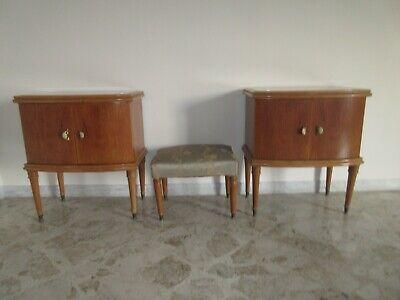 Design. Piano in vetro Comodino in legno anni /'50 Vintage