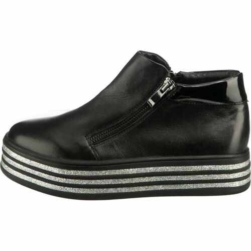 Zi nuevo talla 39 cuero-Booties-sneakers negro-plata botas de plataforma Pavia 14