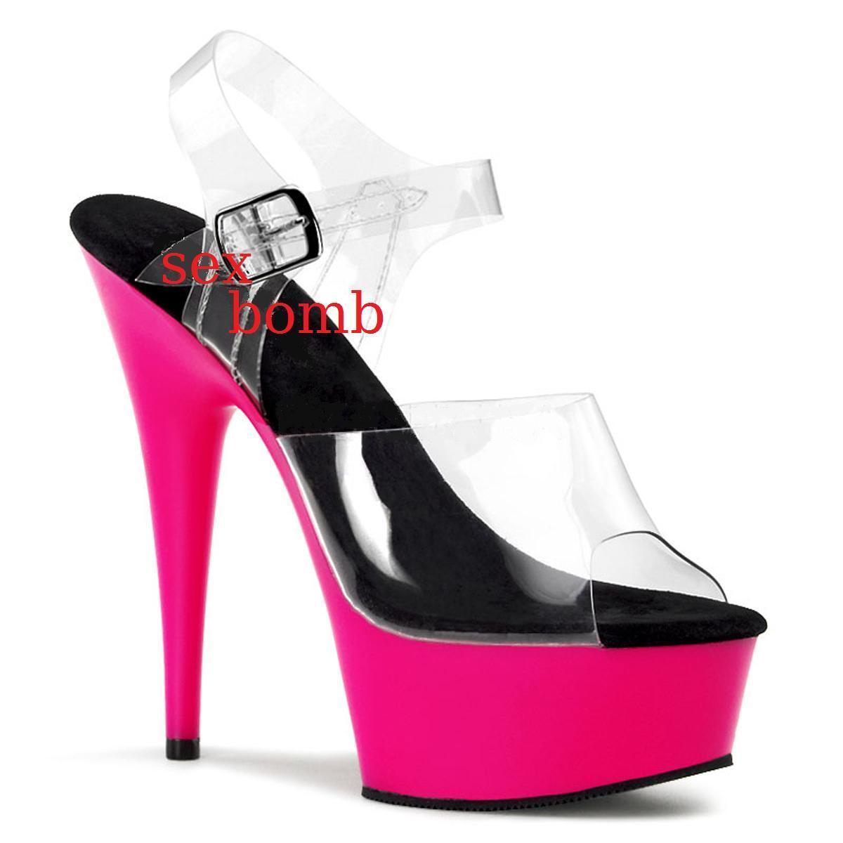 SEXY sandali FLUORESCENTI plateau tacco 15 15 15 dal 35 al 44 rose NEON fashion GLAM 2cb04a