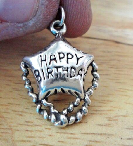 Sterling Silver 26x18mm Happy Birthday Star Mylar Balloon Charm back concave