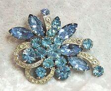 Vintage Eisenberg Ice Blue & Clear Rhinestone Brooch