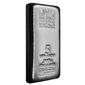5 oz Republic Metals (RMC) Silver Bar .999 Fine (Cast,Sealed)
