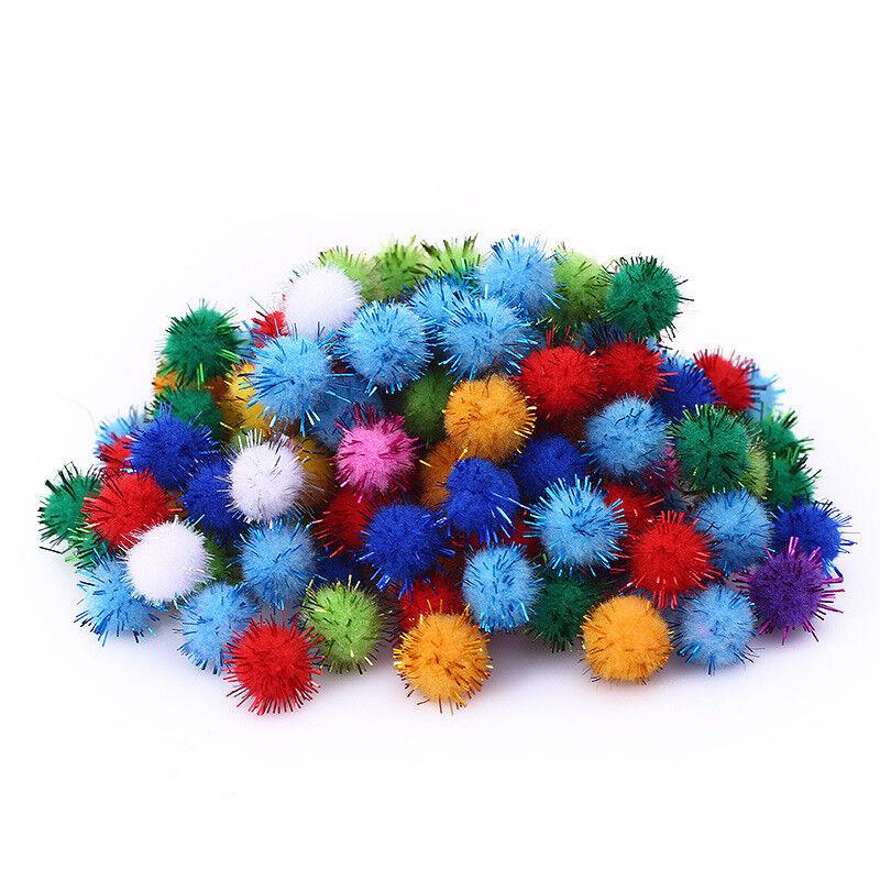 100pcs//set Small Glitter Plush Tiny 1.5cm 15mm  DIY Craft Pompom 12 Colors
