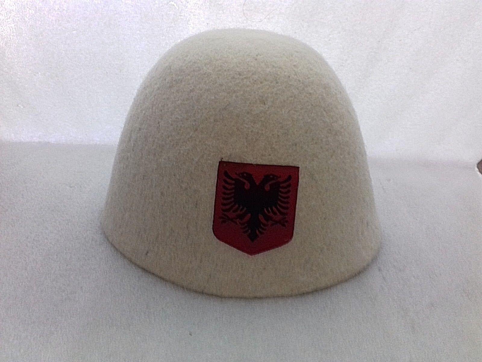 ALBANIA HAT TRADITIONAL WOOL HAT ALBANIA FOLK QELESHE PLIS-HANDMADE-WOOL-EAGLE EMBLEM-CUTE 6cfe0d