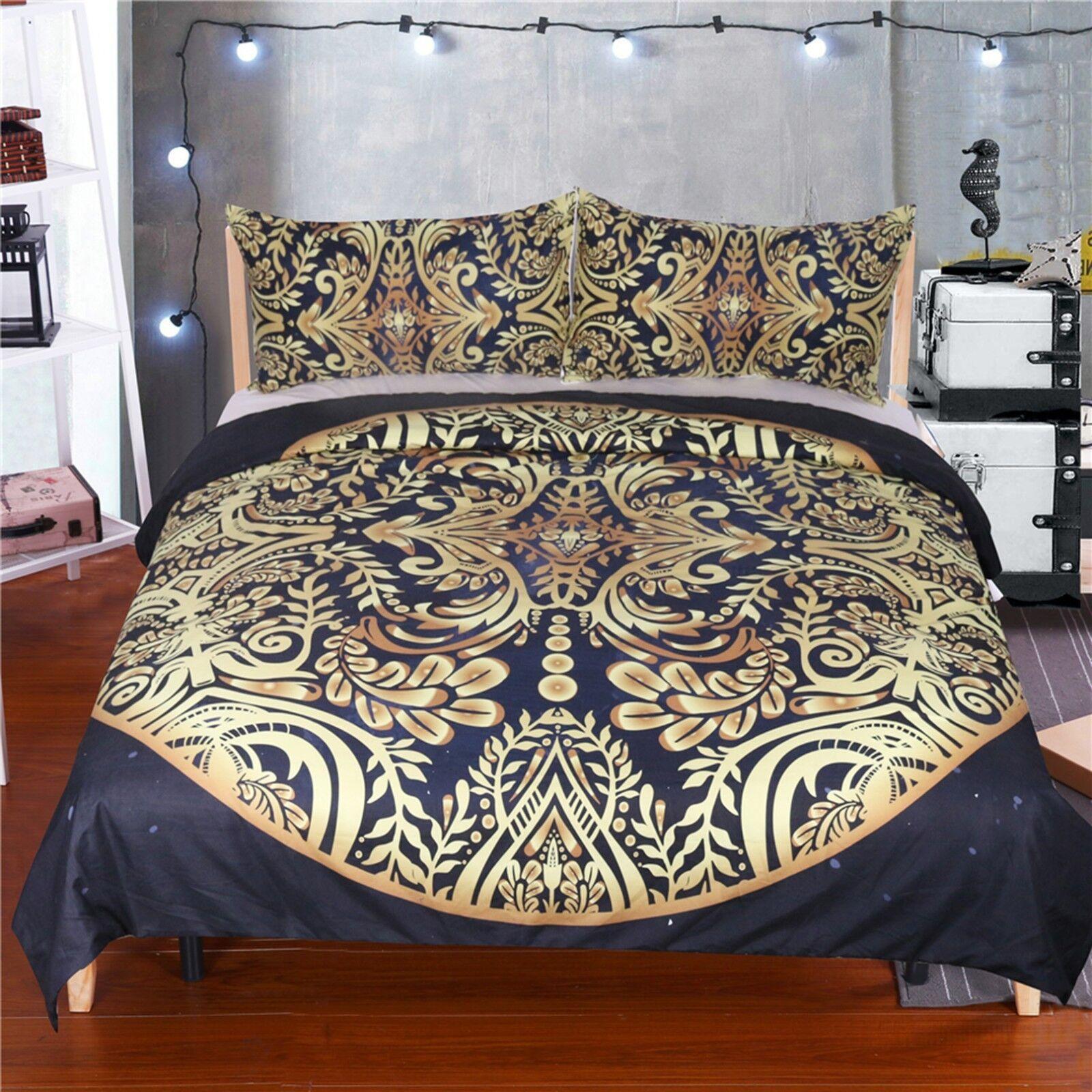 3D Golden Pattern 461 Bed Pillowcases Quilt Duvet Cover Set Single Queen CA