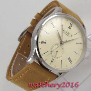42mm-PARNIS-0ff-white-dial-Datum-ST-1693-Automatisch-movement-Uhr-men-039-s-Watch