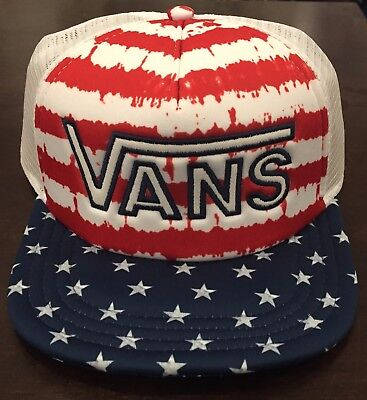 00775773b1d VANS Drop V Snapback Trucker Hat (NEW) Americana STARS STRIPES America Flag  USA