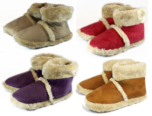 Ladies Girls Dunlop comfy Faux suede red brown slipper bootees UK 3-7 purple