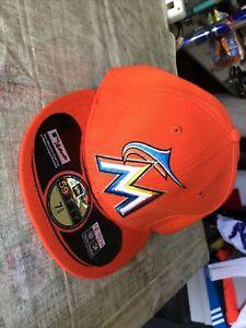 New Era 59Fifty Miami Marlins MLB Men's Orange Fitted Cap Hat Size 7 3/4 NOS