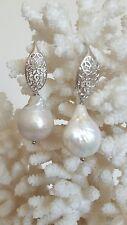 Orecchini  perle bianche barocche naturali  e argento 925 filigrana , gioielli