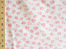 1YD Delicate FALLING SPRING TULIPS Pink Flowers Doll Floral Quilt Sewing Fabric