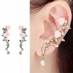 Fashion-Lady-Gold-Rose-Leaf-Flower-Crystal-Ear-Stud-Cuff-Earring-Women-Jewelry
