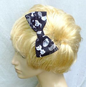 NEW-VINTAGE-50s-STYLE-CUTE-BLACK-CAT-PARTY-COTTON-5in-HANDMADE-HAIR-BOW-CLIP-212