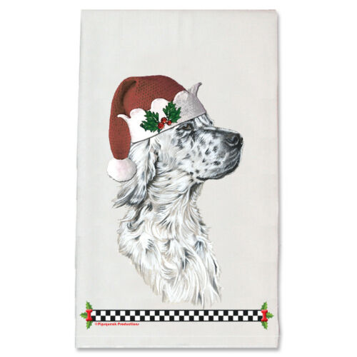 English Setter White with Black Ticking Christmas Kitchen Towel Holiday Pet Gift