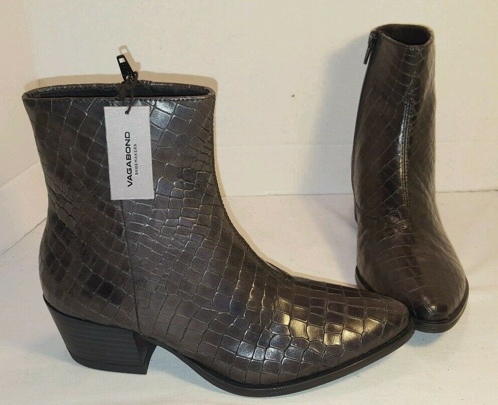 NEW WOMEN'S VAGABOND MARJA BLACK CROC LEATHER LEATHER LEATHER ANKLE BOOTS SIZE US 7 EUR 37 29a5db