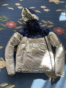 Kolor X Adidas Tricolor Metallic Silver Navy Puffer Down Jacket Coat Rare