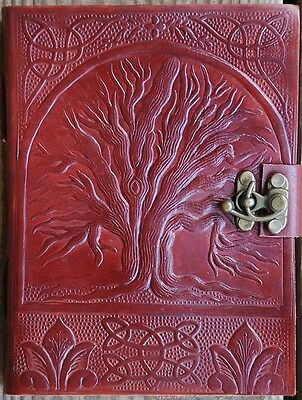 Handmade Tree of  Life Tooled Leather Blank Journal Diary Notebook Book (562)
