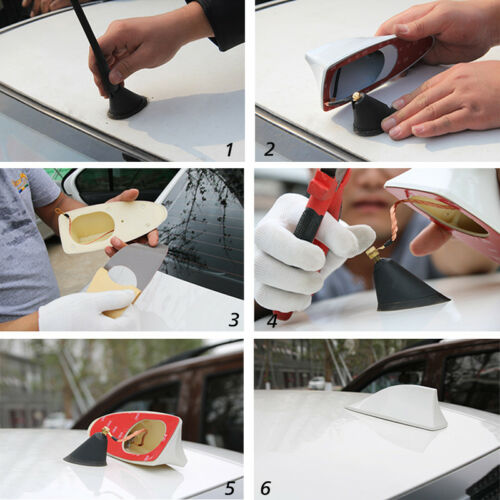 New Universal Car Auto Shark Fin Roof Antenna Radio FM//AM Decorate Aerial RED
