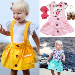 a51e356fb3a6 Summer Cute Baby Kids Girl Toddler Suspender Skirt Overalls Dress ...